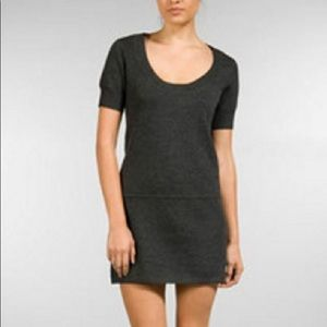 Theory Wool Mini Sweater Dress Gray Size M